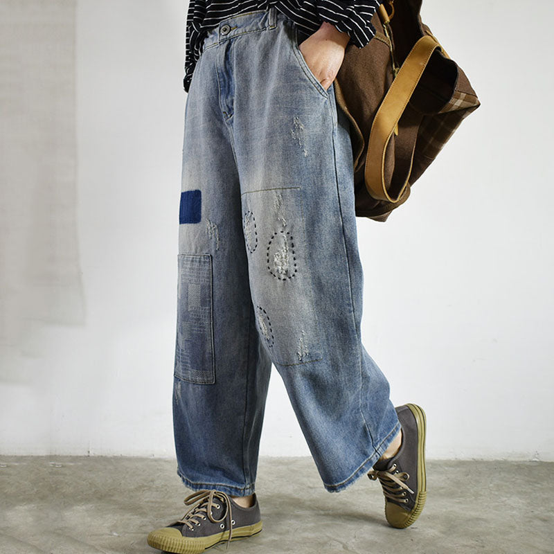 Patchwork And Frayed Blue Jeans