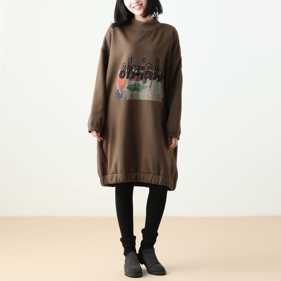 Patchwork Autumn Print Cotton Fleece Dress