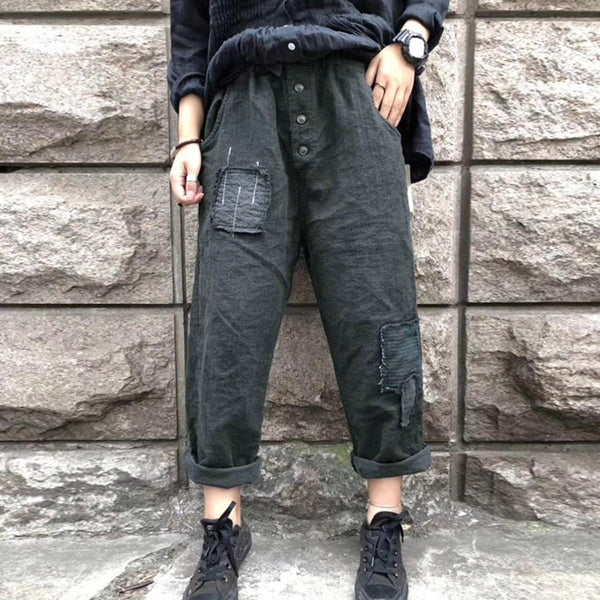 Patchwork Buttons Women Street  Style Pants