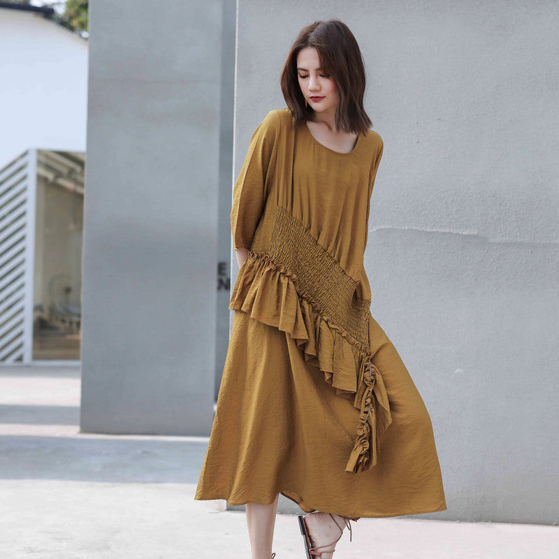 Patchwork Casual Square Collar Loose Dress