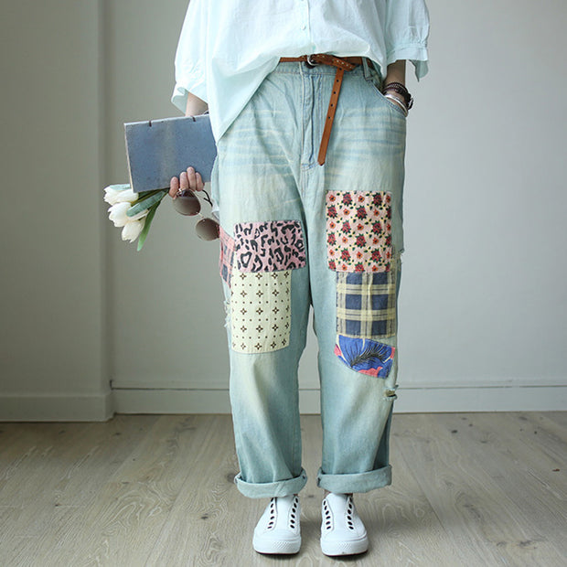 Patchwork Casual Women Loose Denim Pants