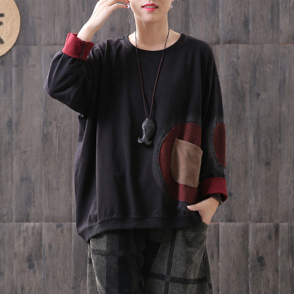 Patchwork Pocket Vintage Black Sweatshirt