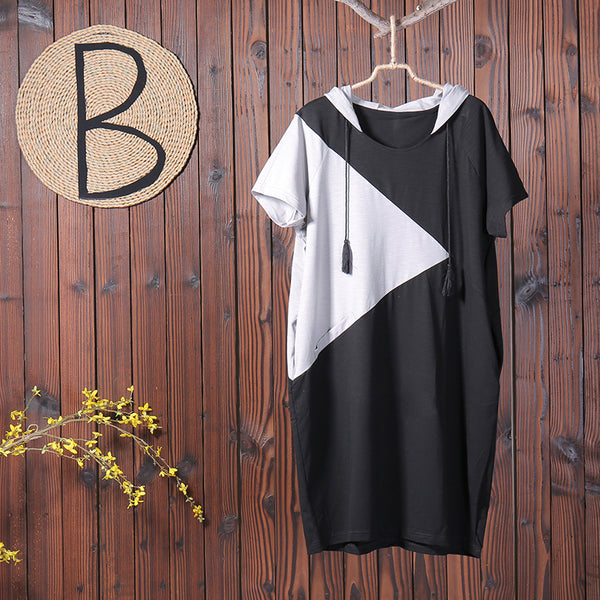 Patchwork Pullover Drawstring Casual Women Dress