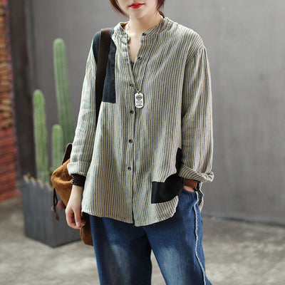 Patchwork Stripe Cotton Linen Shirt
