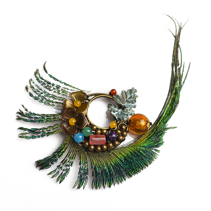Peacock Feather Alloy Flower And Leaf Retro Brooch
