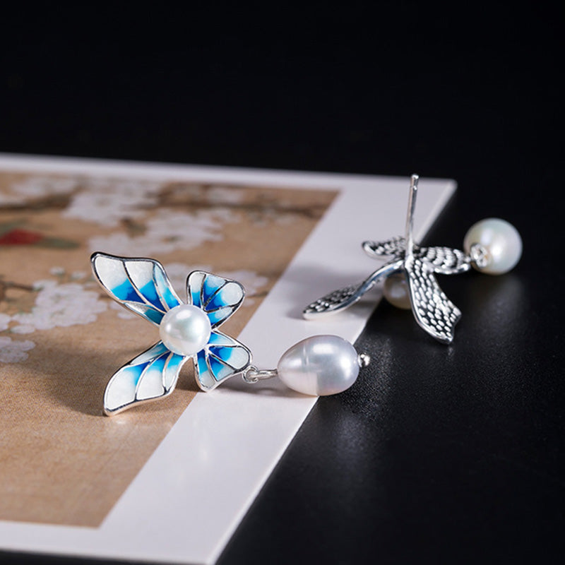 Pearl Dangle Butterfly Silver Ear Studs(2 Pairs)
