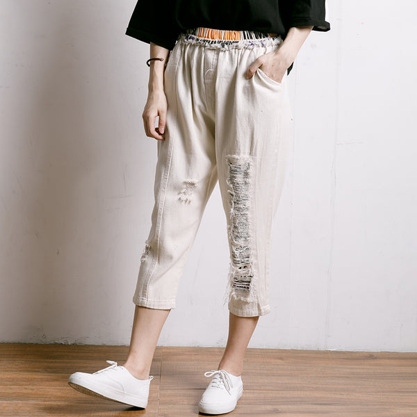 Personality Burr Casual Frayed Elastic Waist Jeans