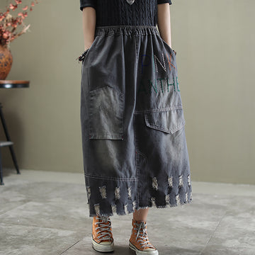 Personality Hole Embroidery Denim Skirt