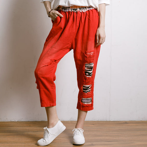 Personality Hole Spliced Elastic Waist Jeans