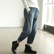 Personality Side Line Frayed Casual Jeans