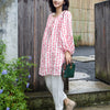 Pink Linen Loose Blouse Lantern Sleeve Top