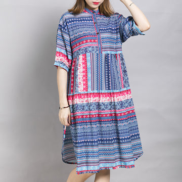 Placket Front Printed Split Casual Dress