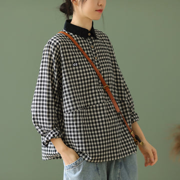 Plaid Appliques Retro POLO Collar Casual Shirt