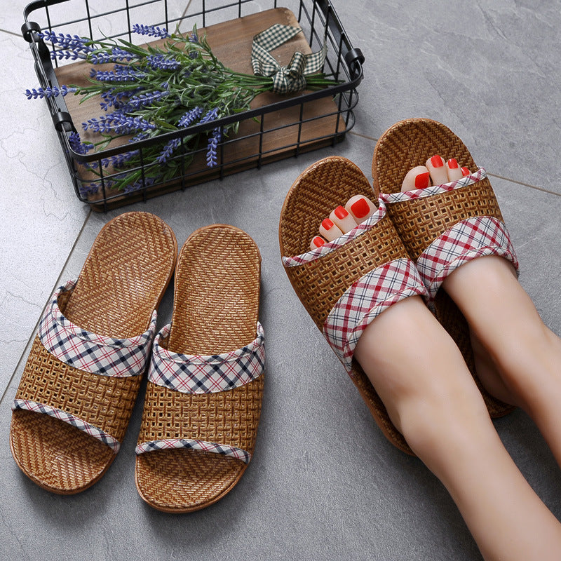 Plaid Cloth Splicing Linen Slippers