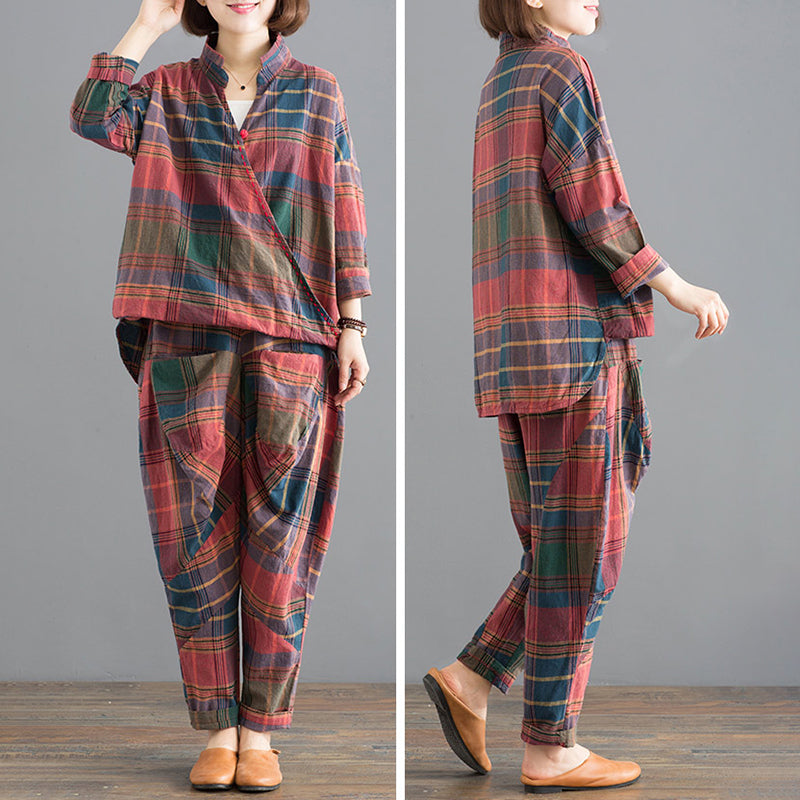 Plaid Cotton Irregular Blouse And Loose Pants