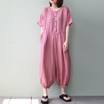 Plaid Drawstring Loose Cotton Linen Red Jumpsuit
