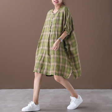 Plaid Loose Summer Retro Pullover Dress