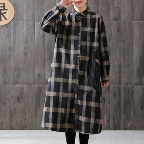 Plaid Cardegan Spliced Stand Collar Cotton Dress