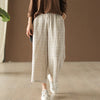 Plaid Cotton Linen Casual Wide Leg Pants