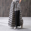 Plaid Drawstring Elastic Waist Wide Leg Pants