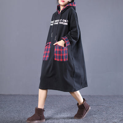 Plaid Hooded Letter Print Winter Midi Dress