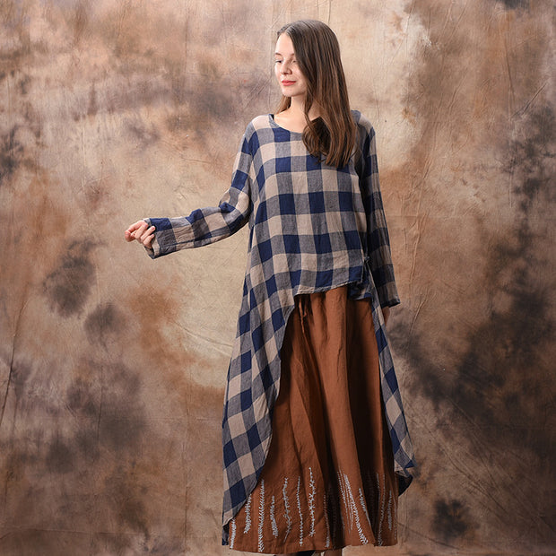 Plaid Irregular Hem Loose Shirt