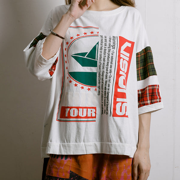 Plaid Letter Printed Summer Cotton T-Shirt