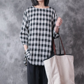 Plaid Linen Women Loose Plus Size Top