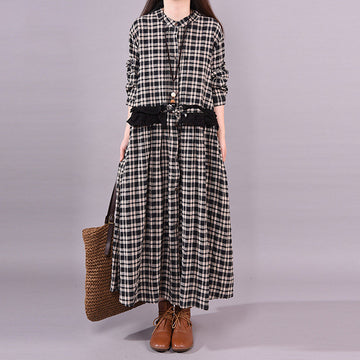 Plaid Loose Long Sleeve Lace Dress
