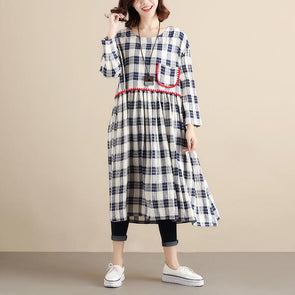 Plaid Loose Women Blue Long Sleeve Dress