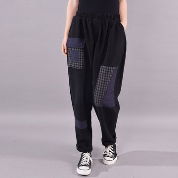 Plaid Patchwork Casual Harem Pants