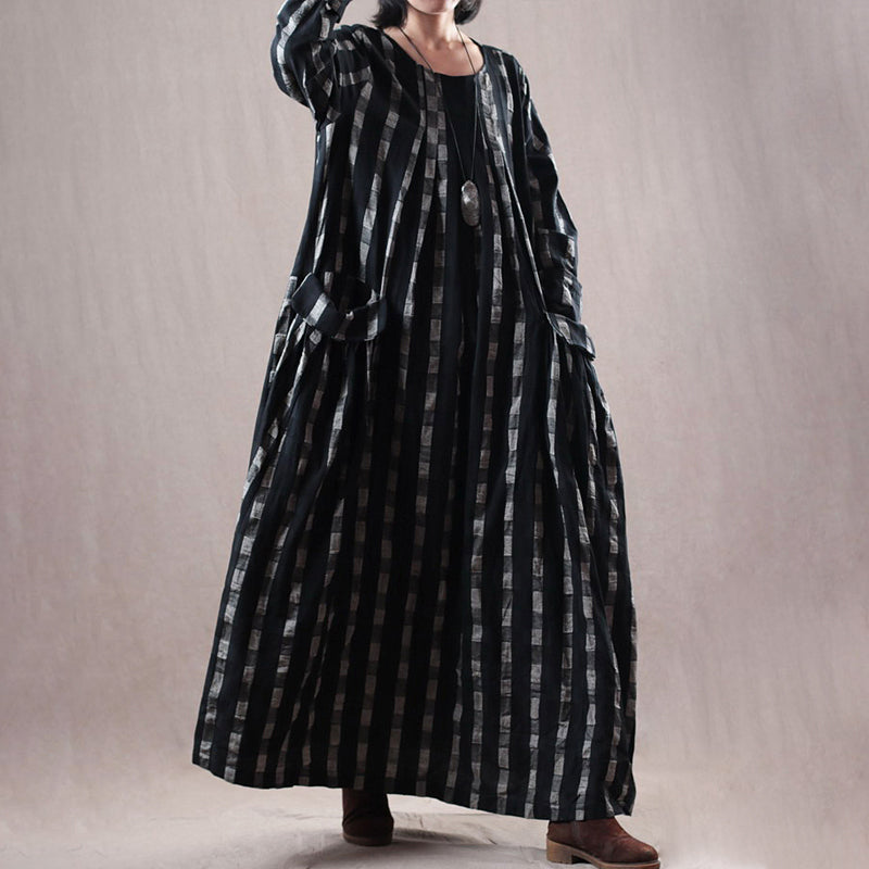 Plus Size - Plaid Pockets Loose O-neck Maxi Cotton Linen Dress