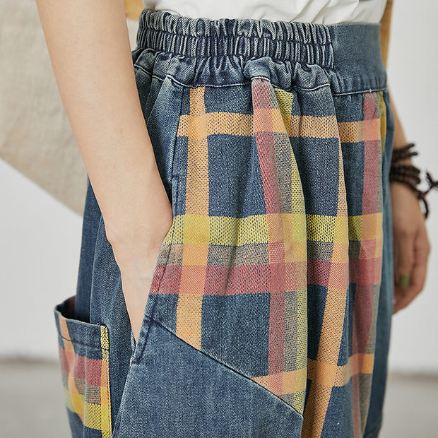 Plaid Printed Spliced Pockets Loose Jeans