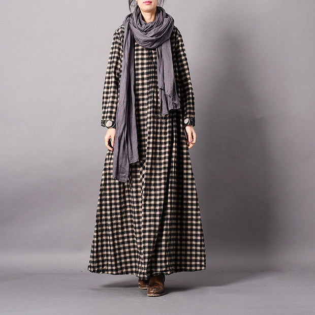 Plaid Printing Loose Splicing Maxi Dress