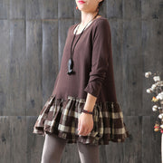 Plaid Spliced Autumn Cotton Lattice Loose T-Shirt