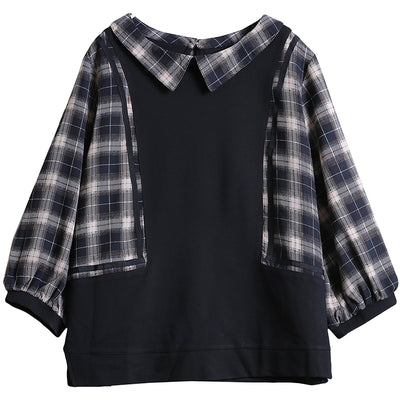 Plaid Spliced Loose Seven Percent Sleeve Blouse