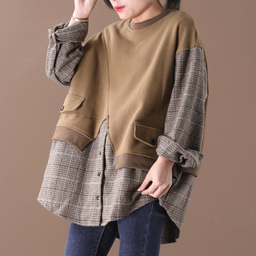Plaid Splicing Fake Two-piece Sweatshirt