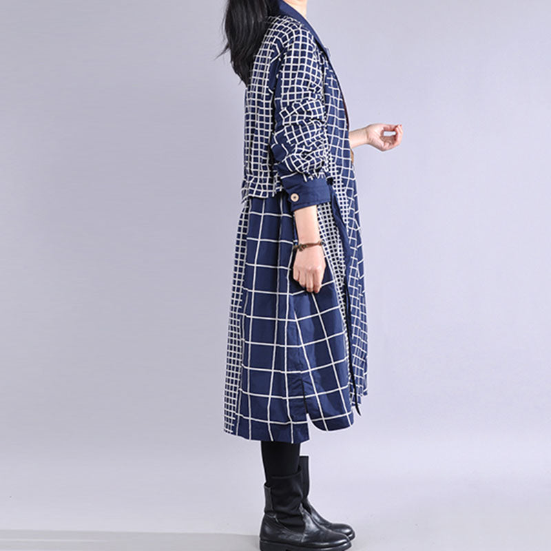 Plaid Stitching Ruffle Loose Trench Coat