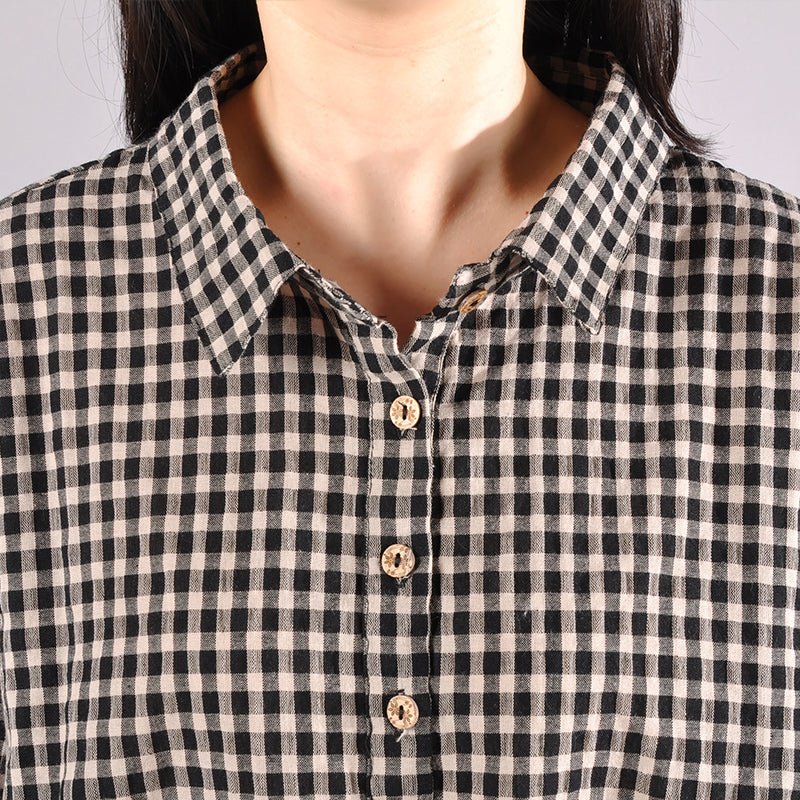 Plaid Straight Polo Collar Plus Size Shirt