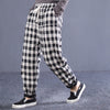 Plaid Women Elastic Waist Cotton Drawstring Pants