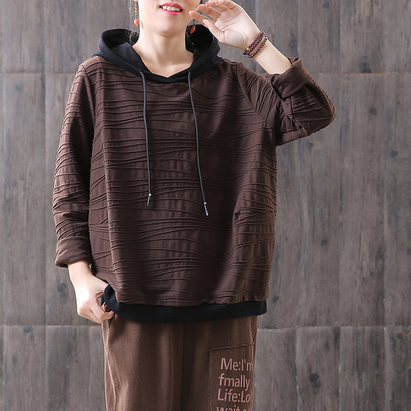 Plain Casual Female Cotton Spring Hoodie