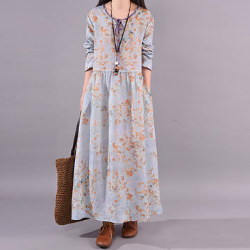 Plant Print Casual Lacing Skin-friendly Dress