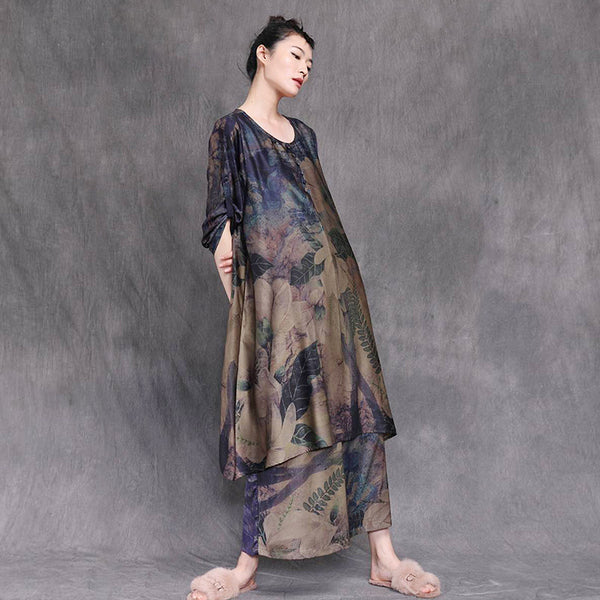 Plant Print Loose Chiffon Two Piece Suit