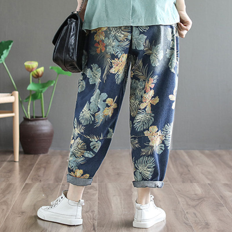 Plant Printed Drawstring Large Pockets Jeans