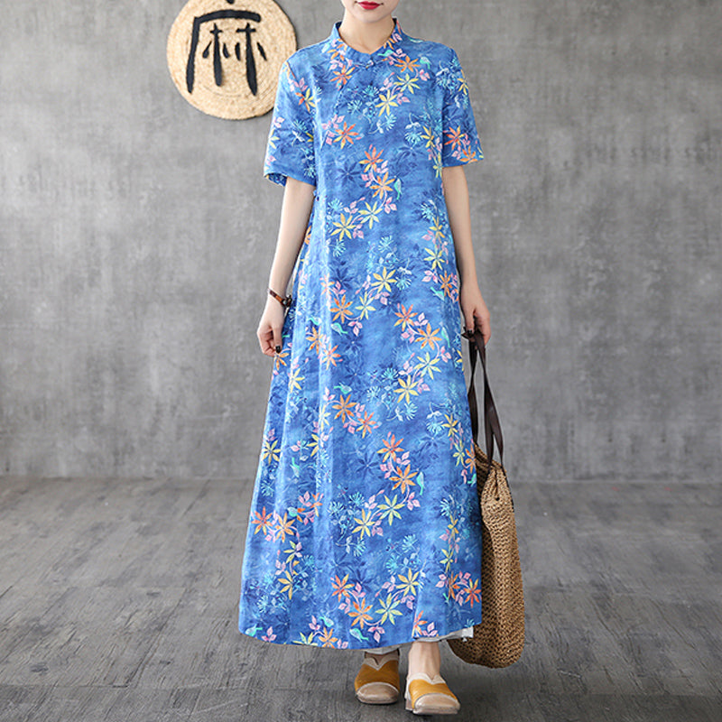 d2cfa9cf6 Plant Printed Split Chinese Style Linen Dress – BUYKUD