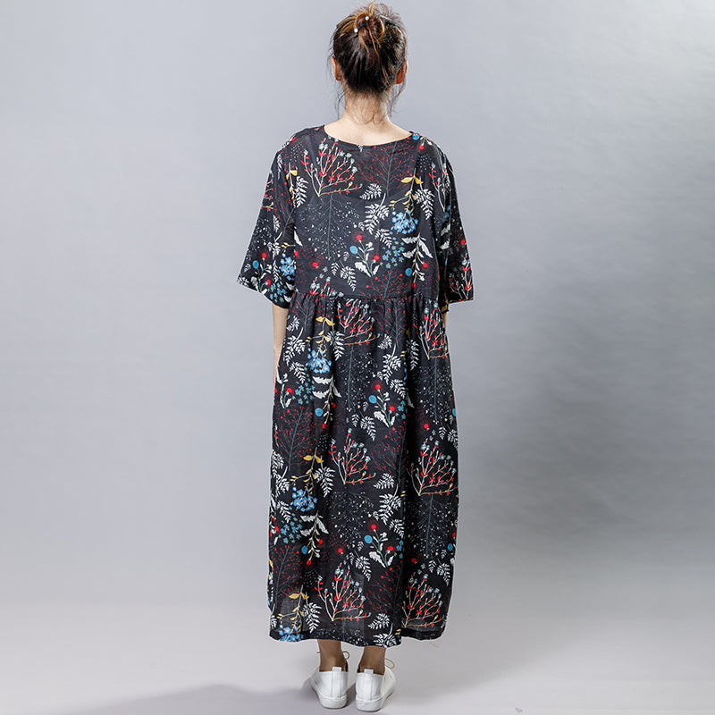 Plant Printed V-Neck Casual Gauzy Dress