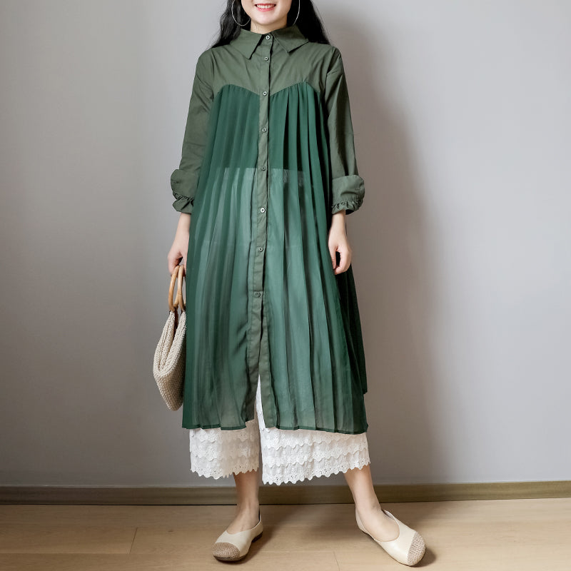 Pleated Chiffon Splicing Sheer Sunscreen Shirt Dress