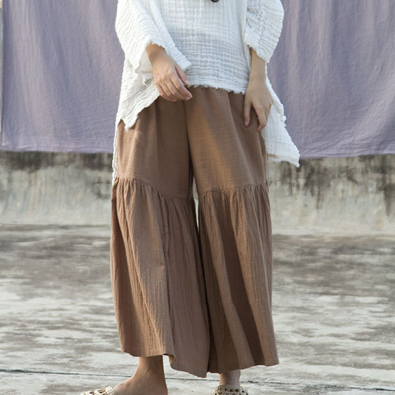 Pleated Flared Wide Leg Pants