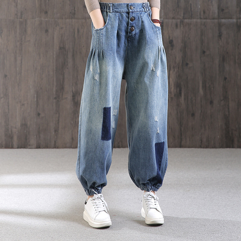 Pleated Pockets Frayed Casual Jeans