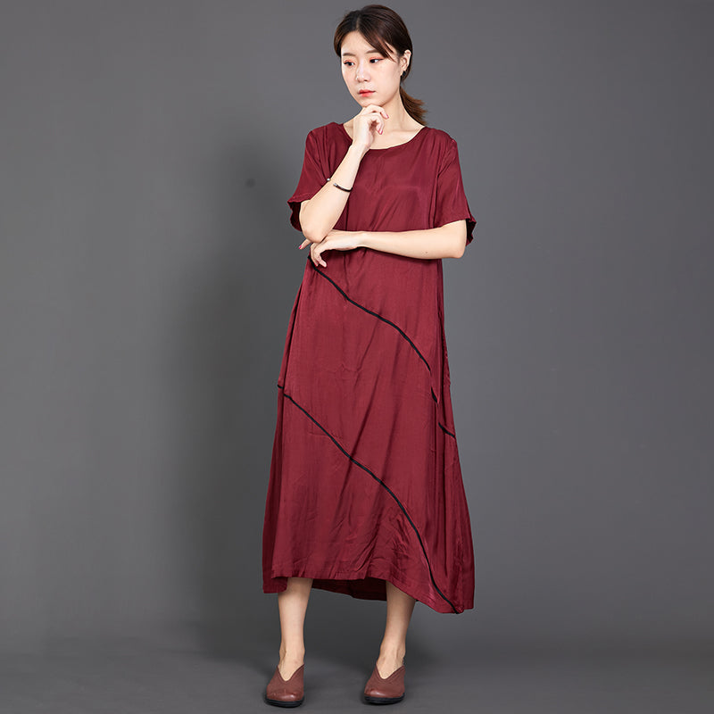 Pleated Solid Color Silky Red Dress